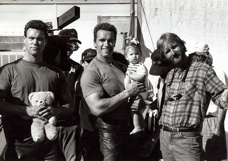 Arnold's stunt double Peter Kent, Arnold Schwarzenegger with his daughter Katherine and James Cameron on the set of Terminator 2 Judgment Day
