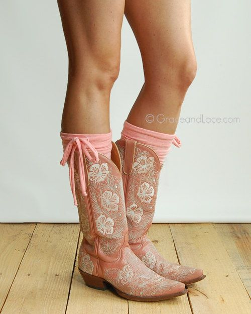 Jersey Tie Boot Cuffs - CORAL boot topper boot cuff w/ self tie - faux legwarmers - leg warmers boot warmers by Grace and Lace