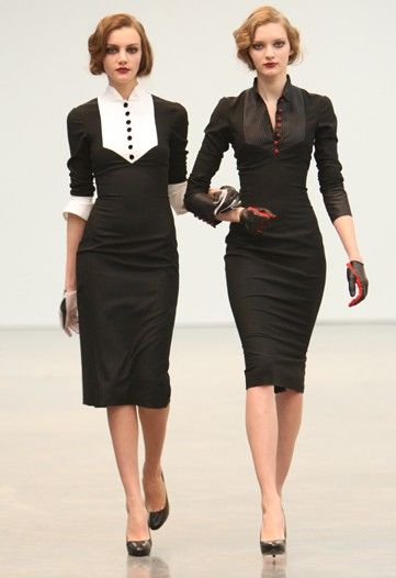 "L'Wren Scott - this is it to a ""t"": Vintageretro Style, L Wren Scott, Black Dresses, All Black, L'Wren Scott, Black And White,  Suits Of Clothing, Scott Fall, Work Attire"
