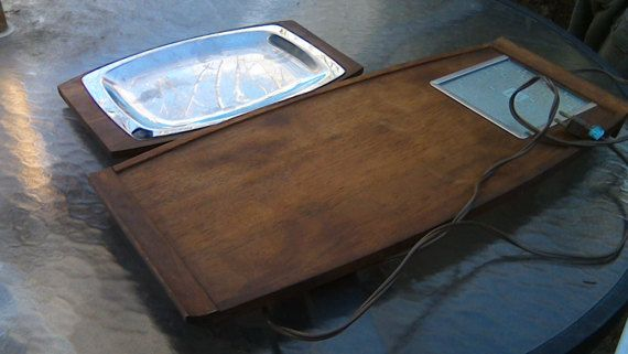 Warming Trays 2 Mid Century Modern Serving Trays HUGE 25 Inch WOOD Salton HOTRAY Hot Appetizer Tray The Automatic Food Warmer Easter Dinner