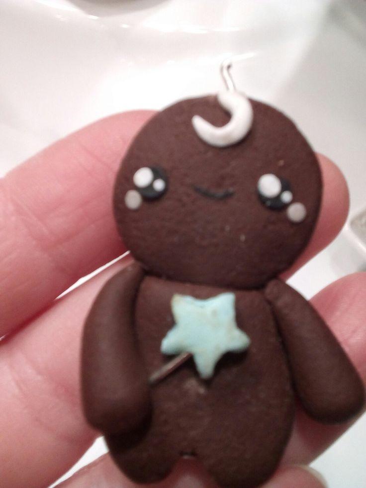 Ciondolo biscottino kawaii con bacchetta magica