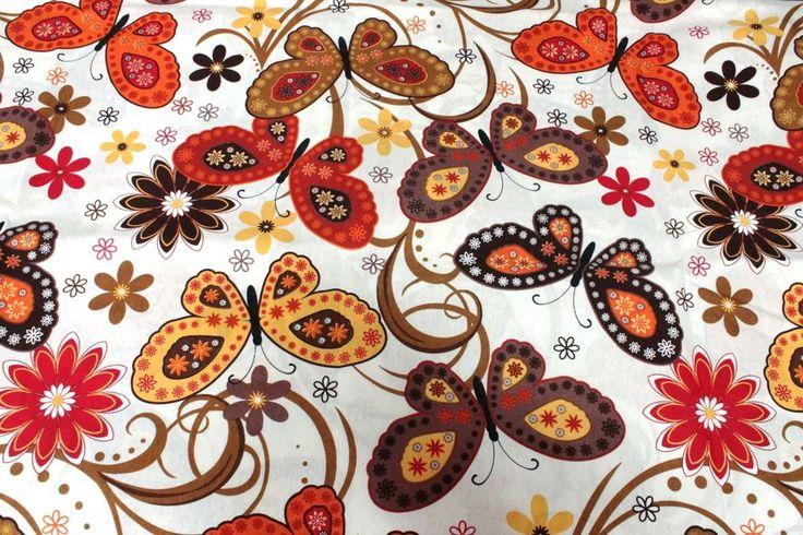 Tessuto Cotone Shantung FANCY BUTTERFLY Arancione Marrone Panna 2,80 x2,80 mt