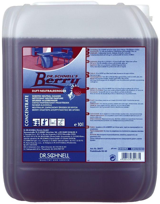 Berry Dr. Schenll detergent pentru toate suprafetele rezistente la apa, cum ar fi plastic, suprafete vopsite, sticla, oglinzi, ceramica si otel inoxidabil.
