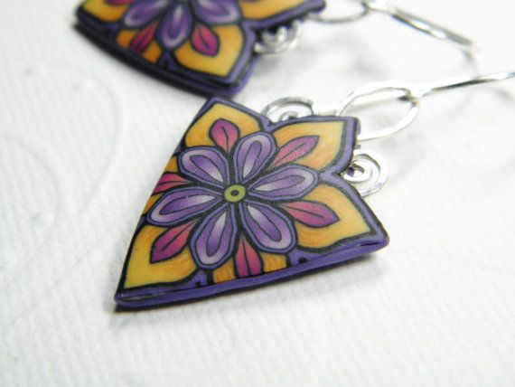 Autum Flower Earrings in Millefiori Clay by DedeLeupold on Etsy, $36.00