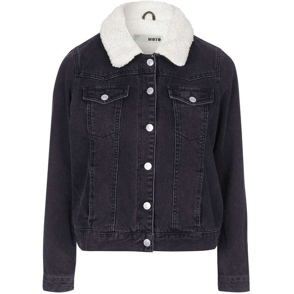 TOPSHOP PETITE Borg Denim Jacket (140 CAD) ❤ liked on Polyvore featuring outerwear, jackets, petite, washed black, black moto jacket, black jean jacket, collar jacket, cowboy jacket and motorcycle jacket