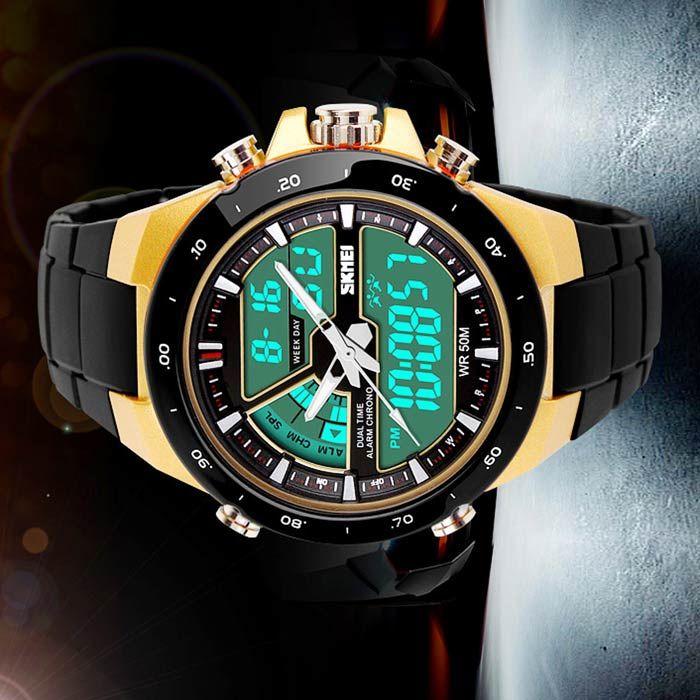 SKMEI 1016 50m Waterproof LED / Pointer Dual Mode Display Men's Sports Watch - Black + Yellow