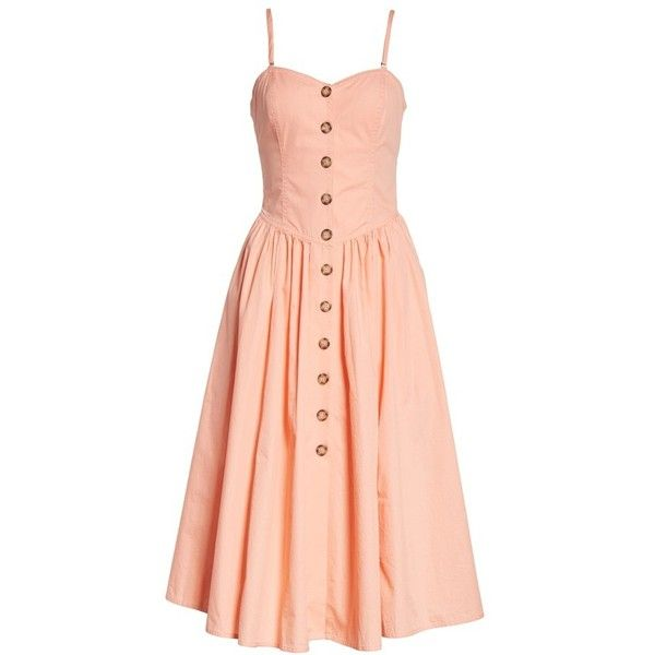 Women's Free People Perfect Peach Poplin Midi Dress ($108) ❤ liked on Polyvore featuring dresses, midi dress, mid calf dresses, poplin dress, free people dresses and red dress