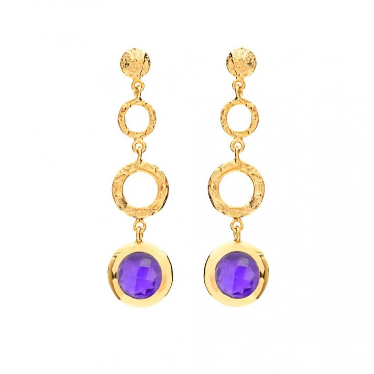 Azuni Athena Gold Plated Amethyst Double Hoop Earrings