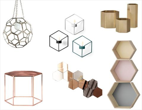 Hexagon Interior #bloomingville #copper #table #copper plated table #bookcases #mirrors #Menu POV #candleholder #hexagon lamp #interior #inspiration