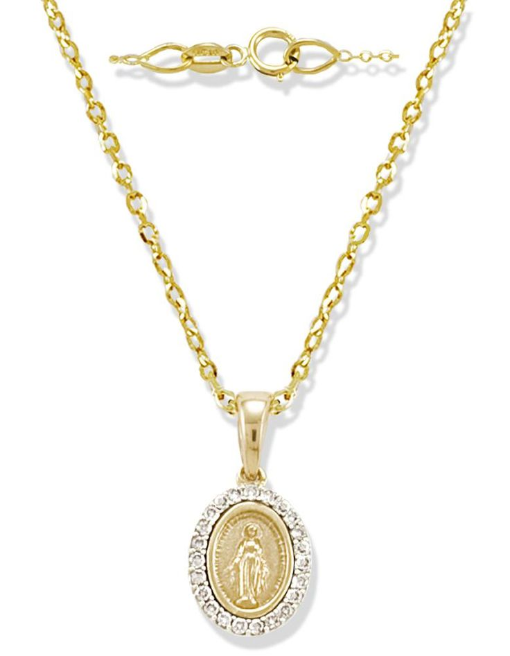 Miniature Genuine Diamond Miraculous Medal In 14k Yellow Gold Miraculous Medal Communion Jewelry Diamond