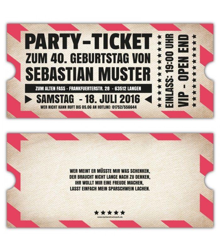 Vip Einladungskarten Party Originelle Einladung Ticket