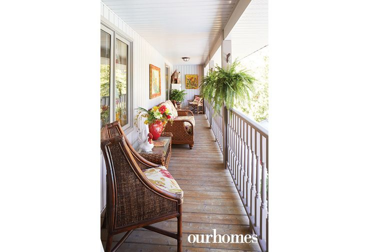 "An inviting covered porch off the homeowner's office on the second floor overlooks the pool and terraced garden setting.     See more of this home in ""Elora Homeowners Add Character in Spades"" from OUR HOMES Wellington-Dufferin Summer 2017: http://www.ourhomes.ca/articles/build/article/elora-homeowners-add-character-in-spades"
