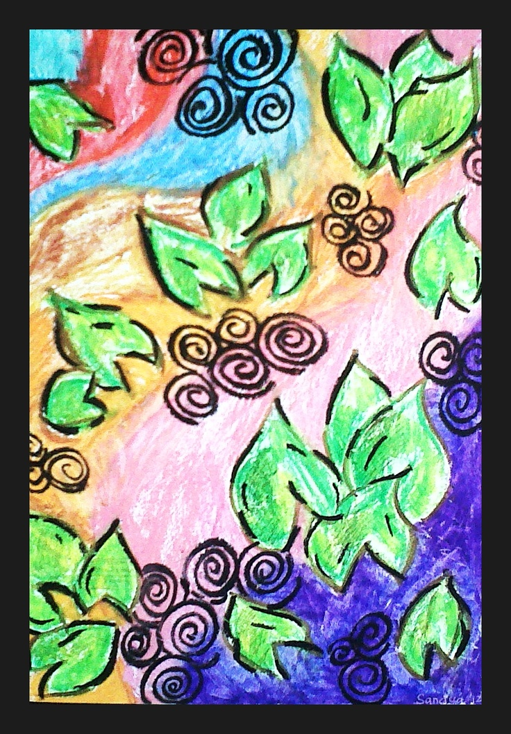 Falling Leaves (oil pastels)- 2012