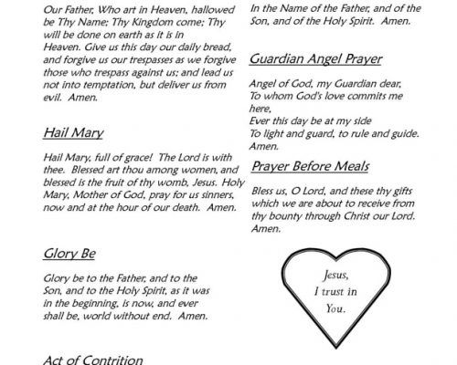 The Basic Prayers Any Catholic Should Know Help young learners and those new to the faith commit prayers to memory with this simple printable prayer sheet. This reference sheet is easy to print and perfect for home review or CCD Religious Education classes. This sheet includes the following prayers: Sign of the Cross Our Father Hail Mary Guardian Angel Prayer Glory Be Prayer Before Meals Act of Contrition Aspiration: Jesus I Trust in You The version of the Act of Contrition used in this…