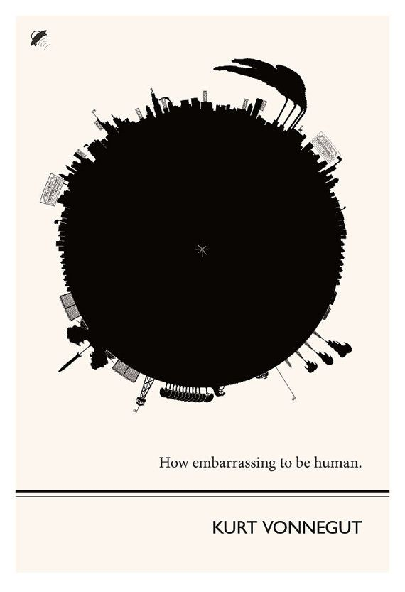 Art Print, Illustration, Kurt Vonnegut Quote, Art Posters, Beat Writers, Postmodern Art Vonnegut Poster