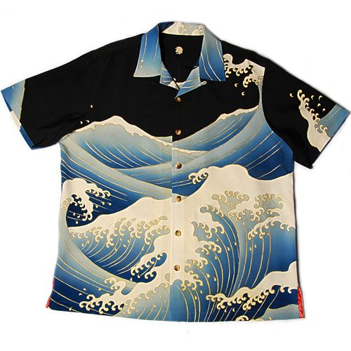 Man's aloha shirt made with vintage Japanese kimonos