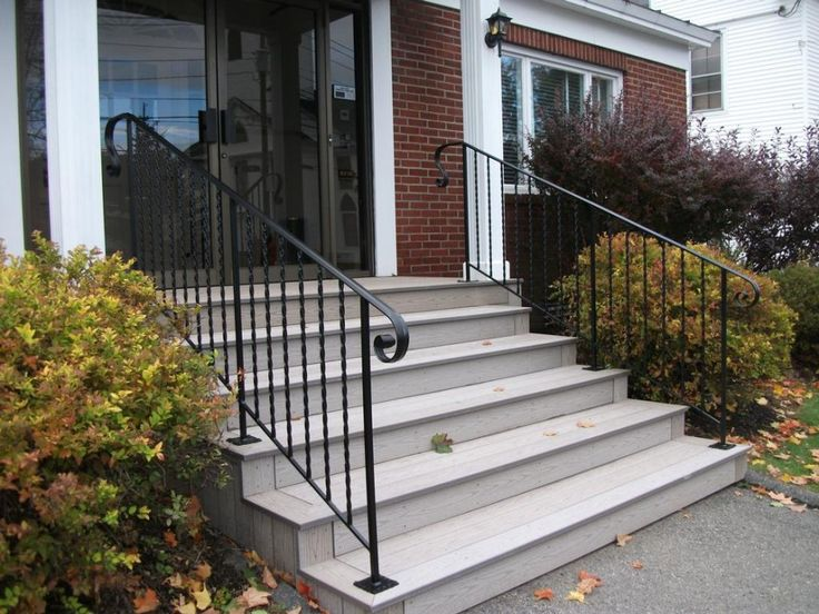 Awesome Exterior Wrought Iron Railings Feature Untreated Wooden Stairs With Black Stained Wrought Iron Handrail