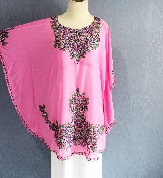 Rosa Floral kurzen Kaftan Kleid marokkanischer Abend von Yosika