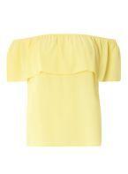Womens Lemon Ruffle Bardot Top- Yellow