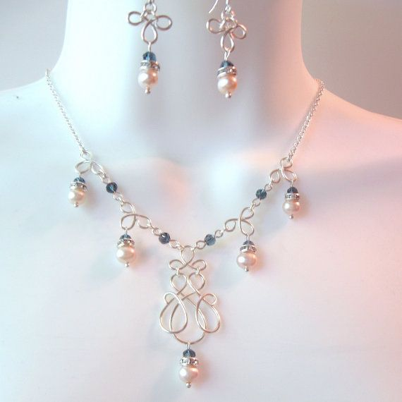 Wire Work Wedding Necklace Set - Pearl - Ultra Light Peach Freshwater Pearls - Midnight Blue Crystal Rounds - Wire Wrapped