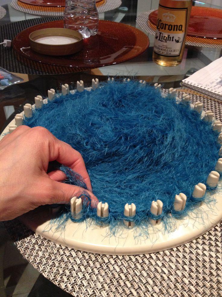 Bufanda en telar circular.