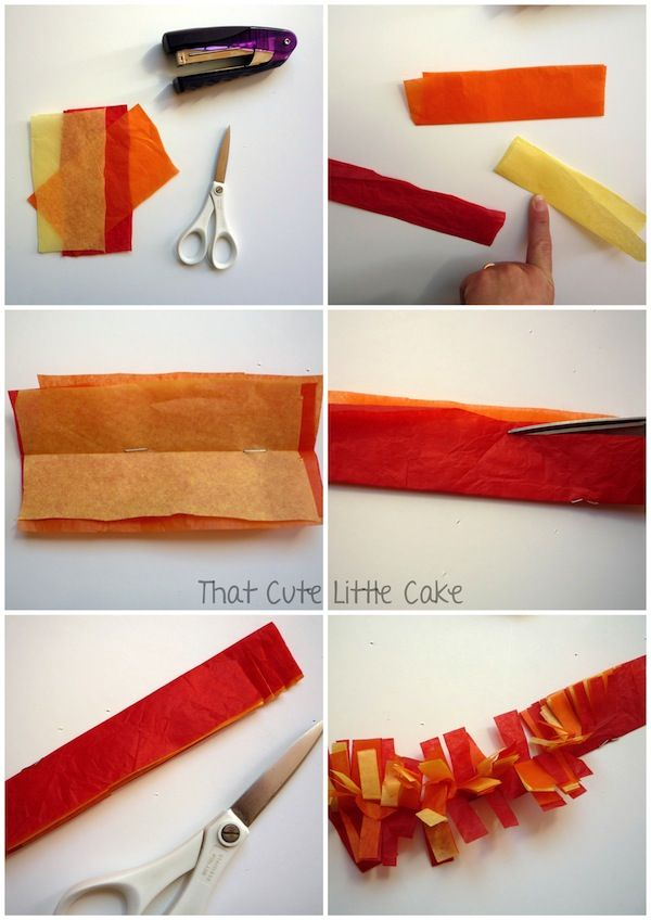 {Craft} How to make tissue paper fire | That Cute Little Cake - iffy about this one, but it reminded me of the garland that was in the windows and above the mirrors for the holidays