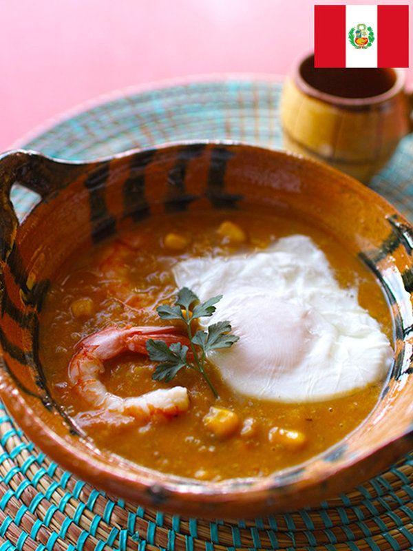 Recipe : チュペ・デ・カマロネス(ペルー)/濃厚なうまみはシーフードとチーズの組み合わせ。ほどよい辛みのチャウダー風。ペルー南部の名物スープ
