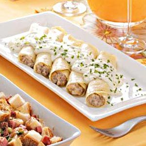 Sausage-Filled Crepes Recipe. Love crepes...never tried savory crepes though. I'm doubtful but willing to try.