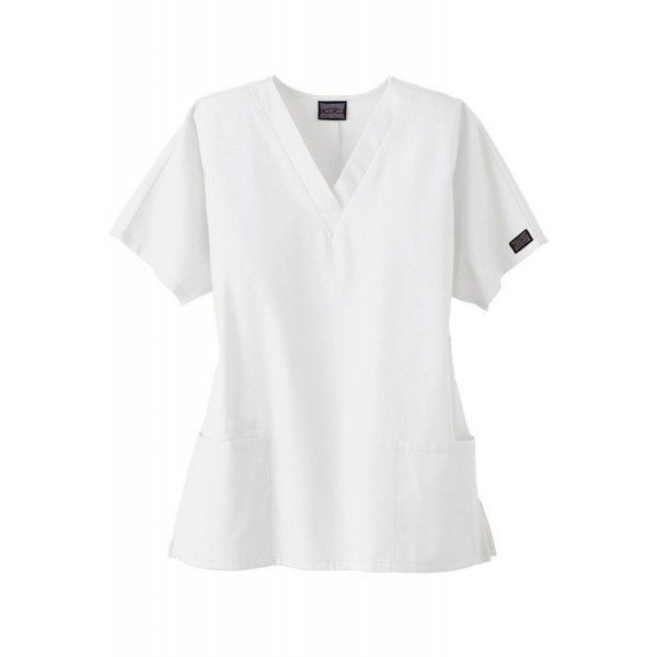 Cherokee Unisex V Neck Scrub Top in White. The Cherokee 4700 Unisex Scrub Top has dolman sleeves, a V-neck design with side seam vents, two roomy front pockets and a mobile phone pocket on the right.£19.99  #medicalscrubs #nursescrubs #dentistscrubs #nurses #dentists #whitescrubs #nurseuniform