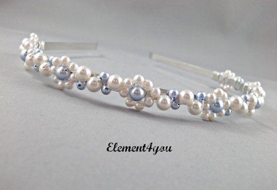 Something Blue - Bridal Tiara, Swarovski pearls, White and blue pearls, Flower hairband, Pearl cluster head piece