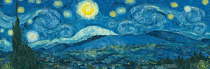 Starry Night Panorama (Expanded version from original) by Vincent van Gogh. 1000 pieces. Panoramic Puzzle over 3 feet wide.