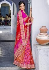 Red & Pink Color Georgette Festival & Function Wear Sarees : Selina Collection  YF-43385