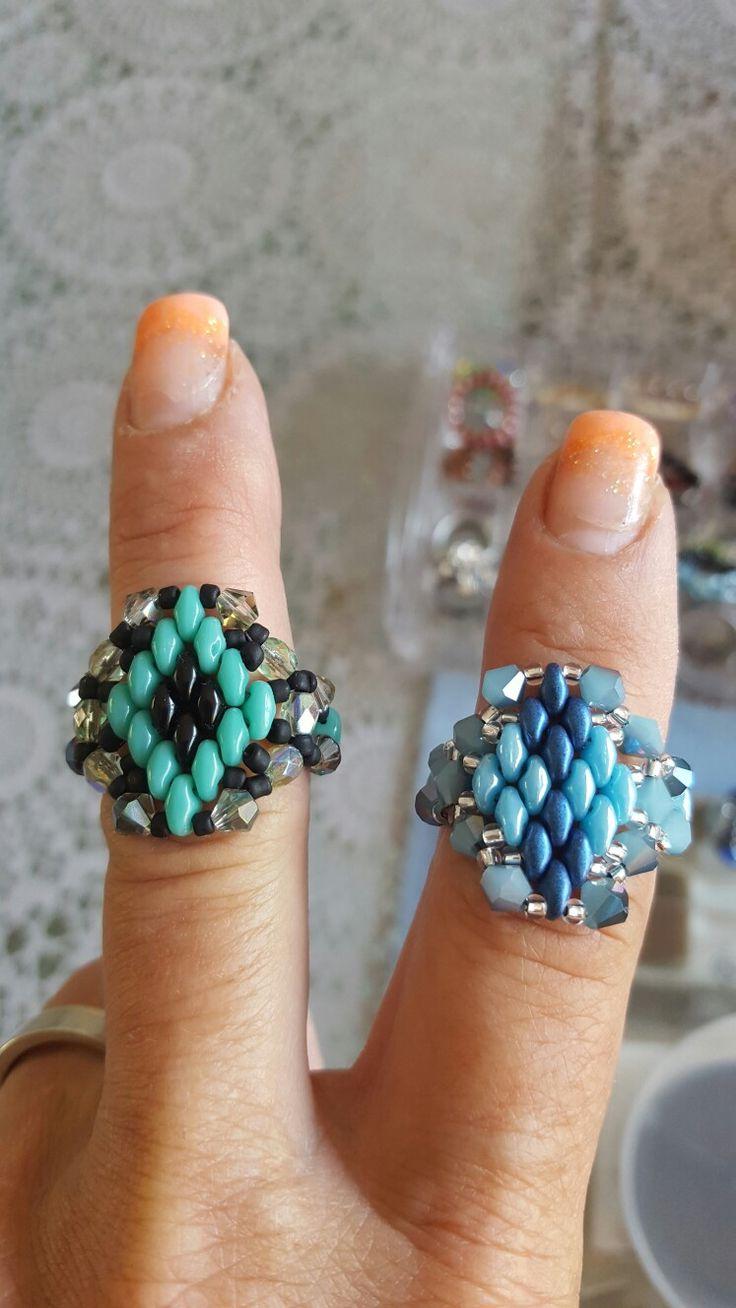Zelfgemaakte ringen met superduo's