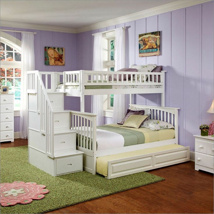 Columbia Staircase Bunk Bed Twin Over Full with Raised Panel Trundle Bed in White By Atlantic Furniture AB55732