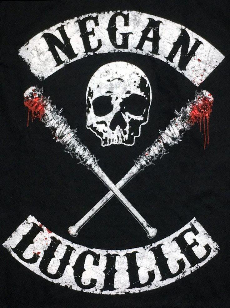 The Walking Dead T-Shirt  Negan Lucille Saviors Skull Logo Men's  S to 3XL Black