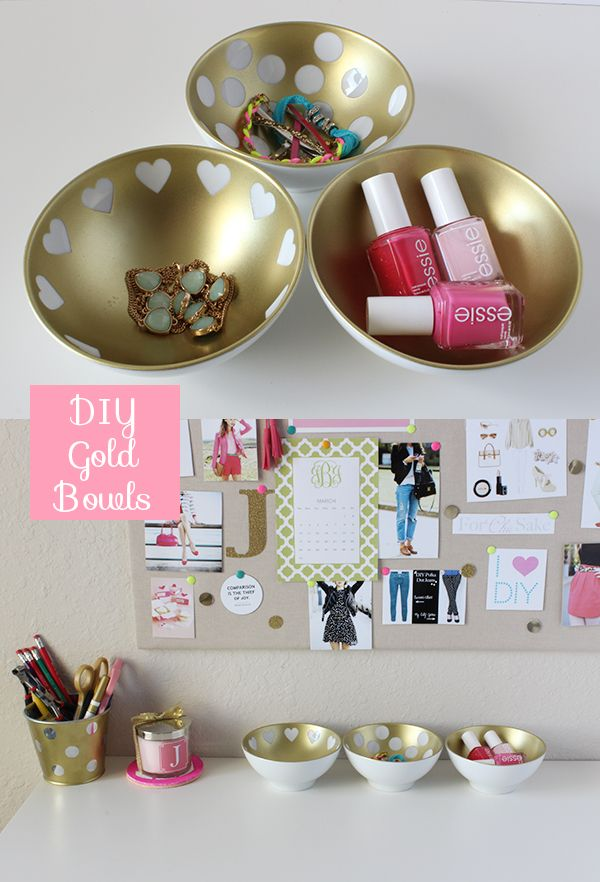 DIY: Gold Decorative Bowls - click to check out the tutorial from ForChicSake.com