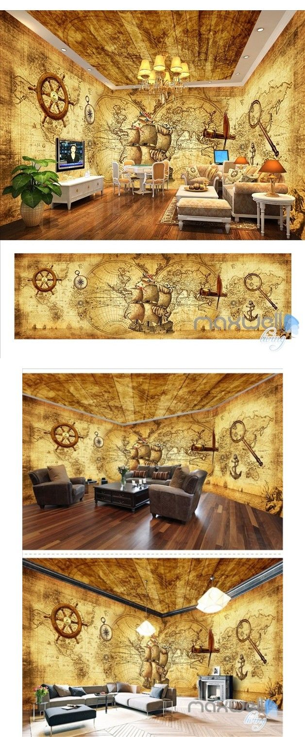 Froggies nursery wall decals by couture d 233 co - Pirates Of The Caribbean Retro Entire Room Wallpaper Wall Mural Decal Idcqw 000047