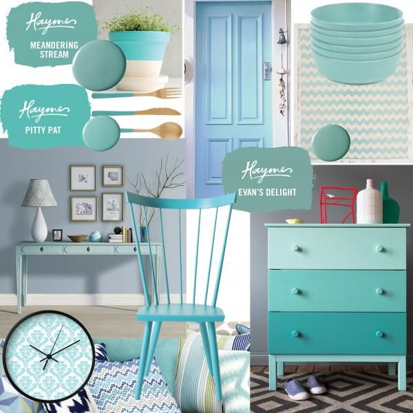 Soft and subtle blues create a calming and reassuring environment - perfect for children's bedrooms and study areas - as well as forming a beautiful backdrop for a feature wall, showcasing a range of modern artwork.Images from left to right: two tone pot, Bright Bold & Beautiful blog; blue door, A Beach Cottage; Gorman bowls, Shades of Light rug, cuttlery by Fab; interior decor image, Haymes Just Blue; clock from society6; chair by Anthropologie; dresser drawer painted and styled by Ruth…