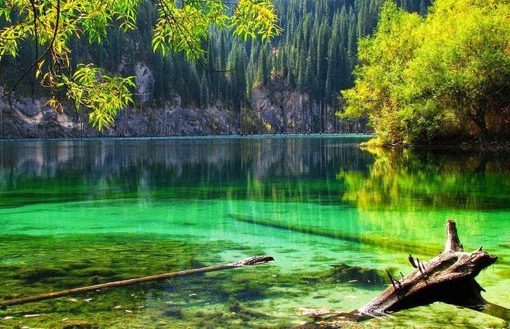 Lago Kaindy – Cazaquistão O Lago Kaindy é um lago do Cazaquistão com 400 metros de comprimento, com profundidades médias de 30 metros, a 2.000 metros acima do nível do mar.