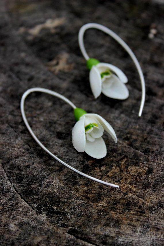 Schneeglöckchen Silber 925 Ohrringe, Frühling Kalte Porzellan Blumen Ohrringe