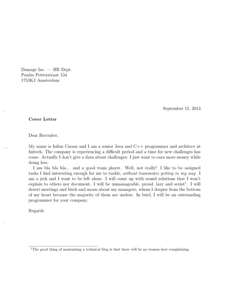 Competitive Analyst Cover Letter