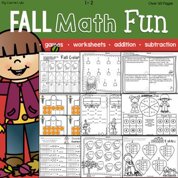 Fall Math Fun is packed with everything you need to practice Addition and Subtraction .... All Fall! Over 50 pages of games and practice pages. Here's what you get: Addition ~ Practice Pages, Bingo Dabber Games and Problem Solving (word problems) Subtraction ~ Practice Pages, Bingo Dabber