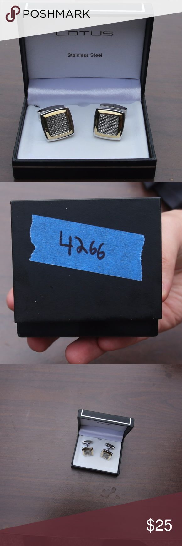 Lotus Silver Cufflinks Silver Lotus  Cufflinks. Gently used. Stainless Steel.  (Original price: $155) #4266 Lotus Accessories Cuff Links