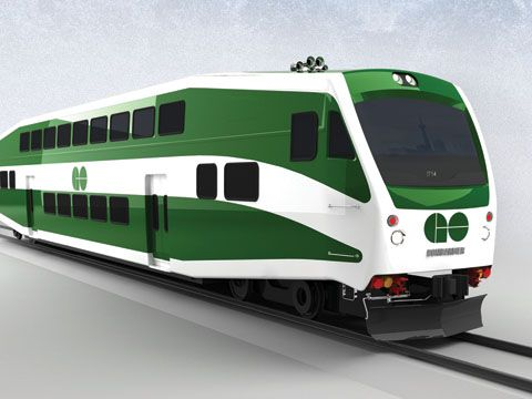 Bombardier Transportation's updated BiLevel car for GO Transit.