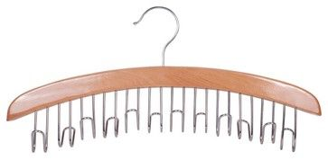 StorageManiac Natural Birch 12-Belt Hardwood Hanger, Chrome Hardware contemporary-hooks-and-hangers