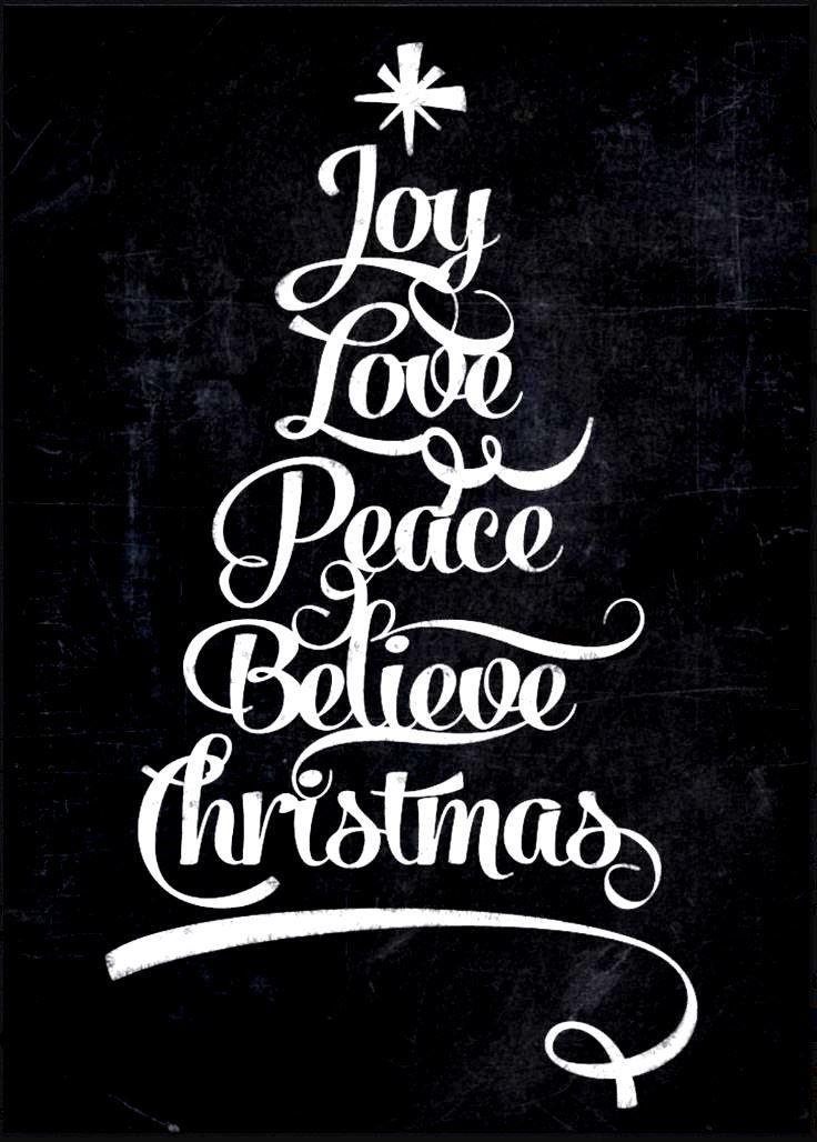 Chalkboard art quote ToniKami C  Christmas tree Joy