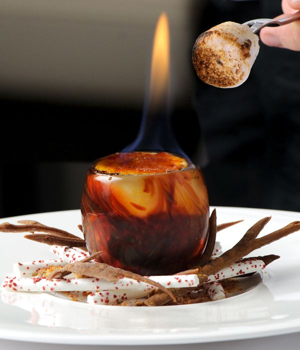 Simon Hulstone is renowned for producing dishes of real invention and this pyro-gastronomic dessert is truly mind-blowing.