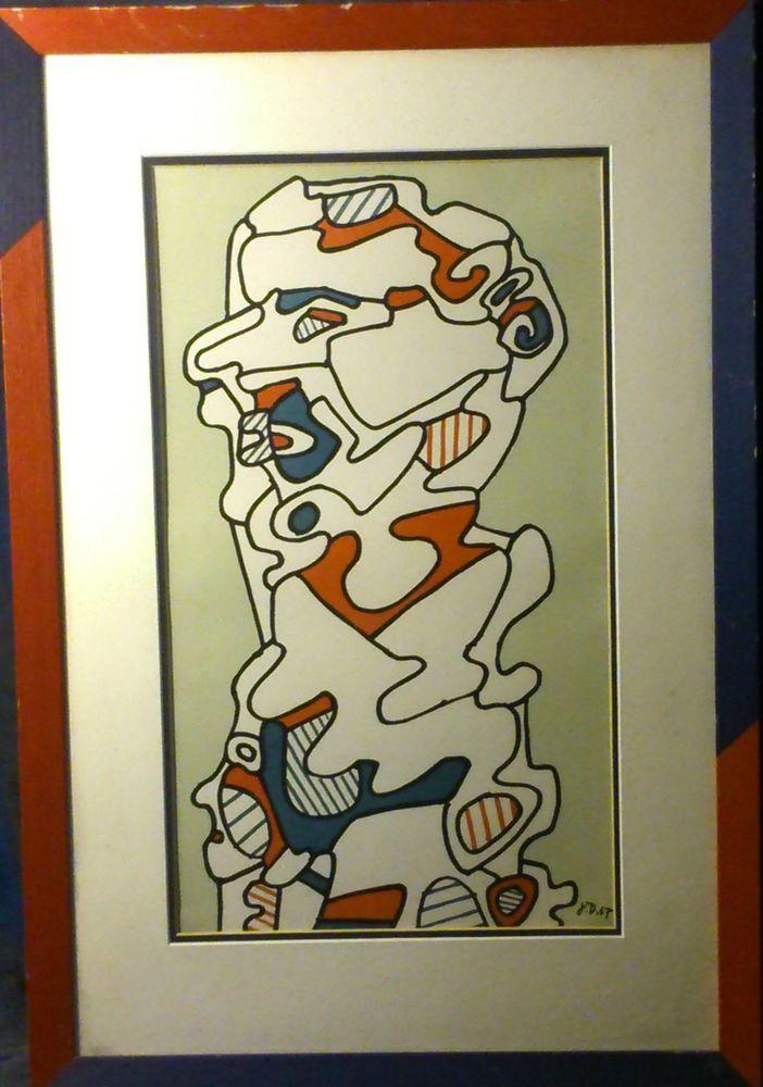 Jean DUBUFFET 1901-1985 L homme 1967 Lithographie signé recto-verso 47X27,8 cms
