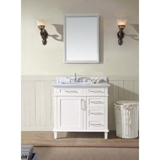 Best Photo Gallery For Website Shop for Ari Kitchen and Bath Newport White Wood and Marble inch Single Bathroom Vanity Set Get free delivery at Overstock Your Online Furniture