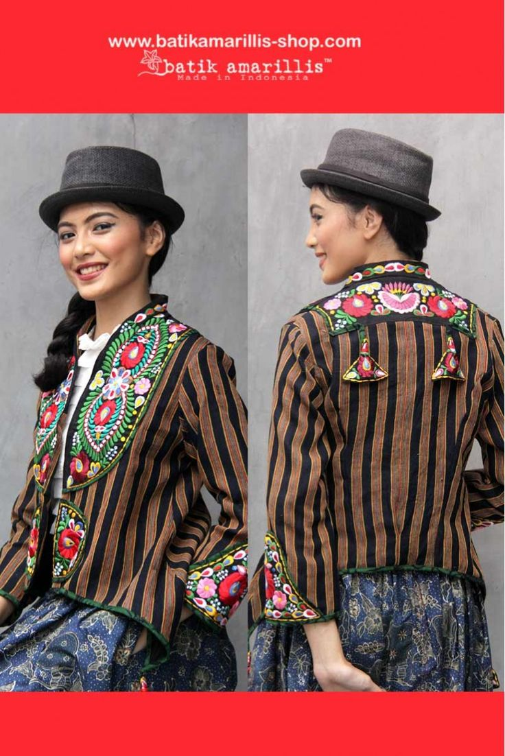 Batik Amarillis made in Indonesia www.batikamarillis-shop.com this unique and stunning military cropped inspired jacket, this contemporary and yet vintage style is accented with exquisite Hungarian's matyo embroidery inspired also features our  triangle arcana tassels to complete the whole extravangant work of art!. material: lurik Surjan Jogjakarta
